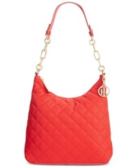 Tommy Hilfiger Isabella Quilted Nylon Hobo Racing Red