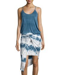 Young Fabulous And Broke Young Fabulous And Broke Kulani Sleeveless Tie Dye Twist Dress Cobalt Chevron Stripe