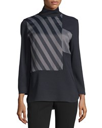 Cnc Costume National Long Sleeve Striped Inset Top Gray Black Women's