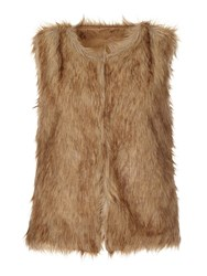 Mela Loves London Faux Fur Sleeveless Gilet Brown