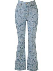 Amapo Floral Flared Jeans Blue