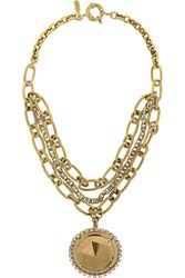 Vickisarge Gold Plated Swarovski Crystal Necklace Metallic