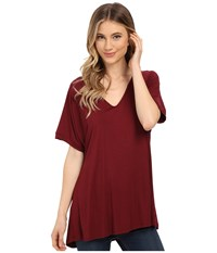 Culture Phit Viola Modal Short Sleeve Top Wine Women's T Shirt Burgundy