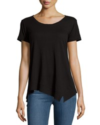 Jethro Short Sleeve Scoop Neck Tee W Asymmetric Hem Black