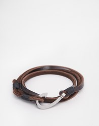 Seven London Hook Leather Wrap Bracelet In Brown Brown