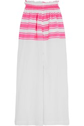 Lemlem Abara Striped Cotton Blend Gauze Pants Pink