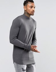 Asos Longline Muscle Long Sleeve T Shirt With Turtle Neck And Curve Hem In Charcoal Grey Green