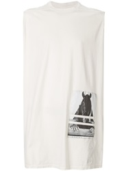 Rick Owens Drkshdw Horse Patch Long Tank Top White