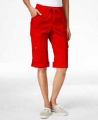 Styleandco. Style And Co. Sport Petite Cuffed Hem Capri Cargo Pants Only At Macy's New Red Amore