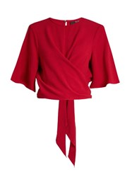 Ellery Dalliance Wrap Front Crepe Cropped Top Red