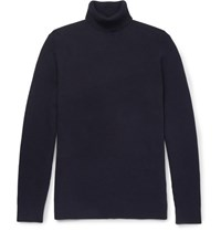Folk Waffle Knit Stretch Cotton Rollneck Sweater Navy