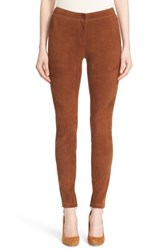 Lafayette 148 New York Women's 'Magic Stretch' Suede Skinny Pants Maple