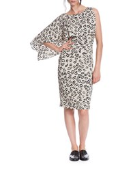 Tracy Reese Asymmetrically Draped Monochrome Dress Cement Grey