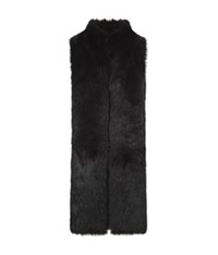 Whistles Reversible Longline Sheepskin Gilet Black