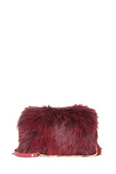 Elie Saab Fox Fur Clutch Red