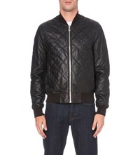 Paul Smith Quilted Leather Bomber Jacket Black