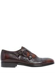 Rolando Sturlini Washed Leather And Suede Monk Strap Shoes