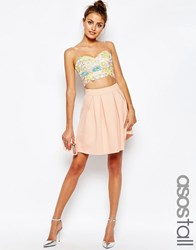 Asos Tall Scuba Mini Prom Skirt Nude Pink