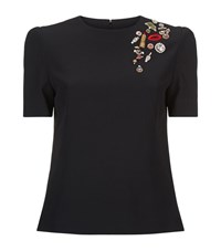 Alexander Mcqueen Embellished Cap Sleeve Top Female Black