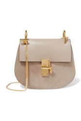Chloe Drew Small Leather And Suede Shoulder Bag Gray