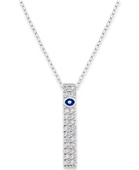 B. Brilliant Sterling Silver Necklace Cubic Zirconia Evil Eye Vertical Drop Pendant 1 4 Ct. T.W.