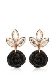 Mawi Black Rose And Crystal Drop Earrings