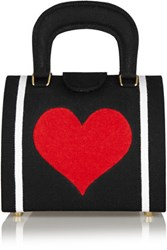 Olympia Le Tan Bernard Heart Embroidered Canvas Tote Black