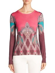Etro Printed Silk And Cashmere Sweater Purple