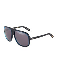 Dita Maximillian Oval Plastic Sunglasses Blue Carbon