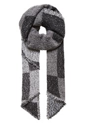 Hallhuber Winter Scarf With Graphic Patterning Grey