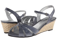 Trotters Mickey Navy Soft Dull Leather Women's Wedge Shoes Pewter