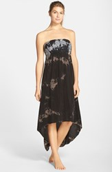 Women's Hard Tail Strapless High Low Dress Black Grey Bleach Tie Dye