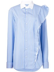 Maison Martin Margiela Striped Ruffle Detail Shirt Blue