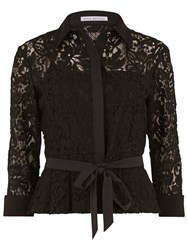 Gina Bacconi Lace Blouse With Contrast Trim Black