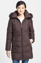 Genuine Fox Fur Trim Down Parka Regular And Petite Mahogany