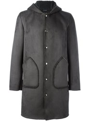 Daniele Alessandrini Sheepskin Effect Hooded Coat Grey