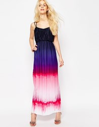 Asos Pleated Maxi Dress In Dip Dye Multi