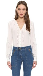 Veronica Beard Barth Embroidered Top White