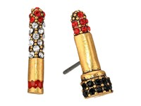 Marc Jacobs Lipstick Cigarette Studs Earrings Red Antique Gold Earring