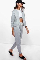 Boohoo Bomber Jacket And Jogger Lounge Set Grey