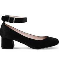 Office Flashback Velvet Mary Jane Block Heels Black