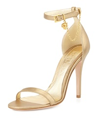 Alexander Mcqueen Ankle Wrap High Heel Sandal With Skull Charm Gold