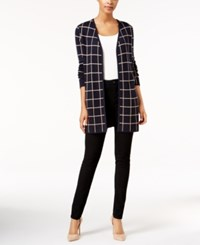 Charter Club Windowpane Open Front Cardigan Only At Macy's Deepest Navy