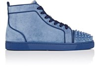 Christian Louboutin Men's Lou Spikes Orlato Flat Suede Sneakers Blue Grey Blue Grey