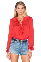L'academie The Ruffle Boho Blouse Red