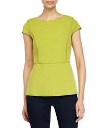 Halston Heritage Cap Sleeve Peplum Top Apple Green
