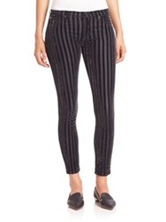 Hudson Nico Striped Velvet Ankle Pants Linear