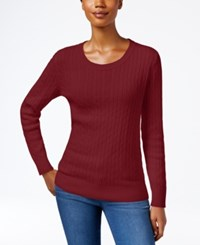 Karen Scott Crew Neck Cable Knit Sweater Only At Macy's Garnet