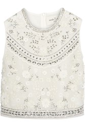 Needle And Thread Bridal Cropped Embellished Chiffon Top Ivory