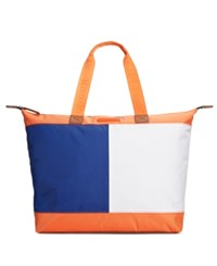 Tommy Hilfiger Colorblock Flag Top Zip Nylon Tote Orange
